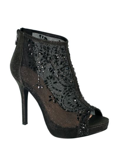 Blossom Black (Mesh Peep-Toe Booties with Crystal Detail)