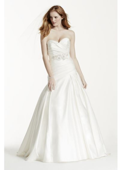 Strapless Satin A Line Gown with Ruched Bodice MB3651