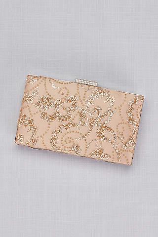Bolsa Clutch de Hojitas de Brillos en Color Oro Rosado