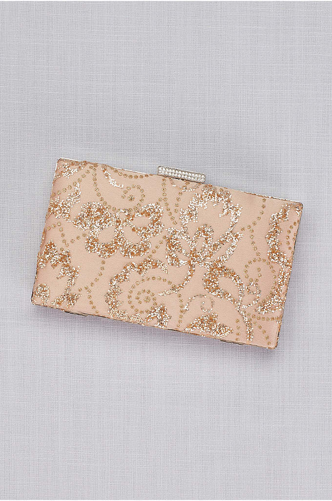 Rose Gold Glitter Leaves Minaudiere - Slip your essentials into the clutch of the