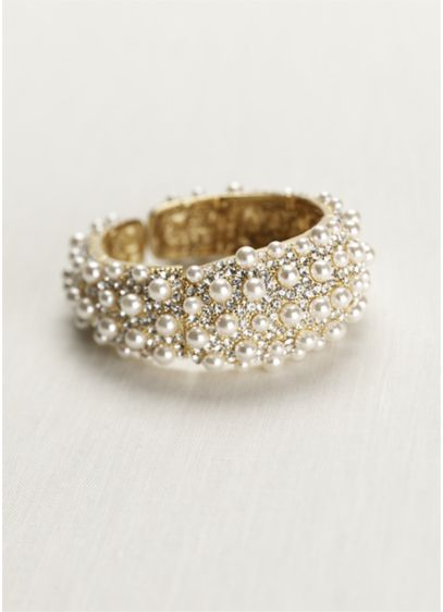 Pave and Pearl Gold Cuff - Wedding Accessories