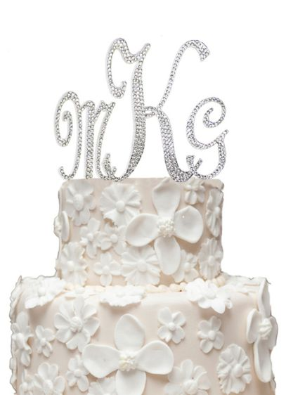 Monogram Cake Topper with Swarovski Crystals - Wedding Gifts & Decorations
