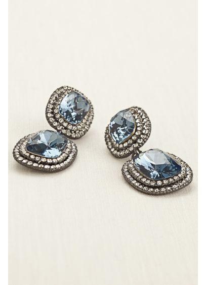 Faceted Gemstone Pave Drop Earrings - Wedding Accessories
