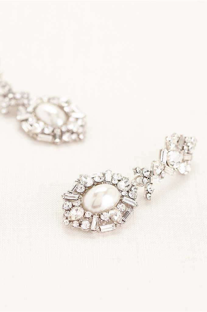 Deco Rhinestone Pearl Statement Earrings - Hit the town in these opulent deco-inspired rhinestone