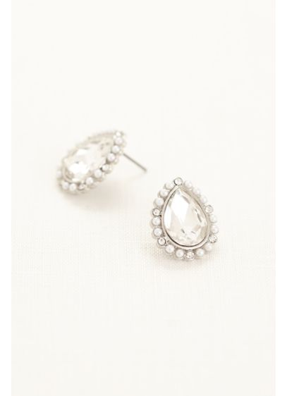 Pearl Teardrop Stud Earrings with Crystals - Wedding Accessories