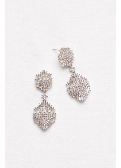 Baguette Cluster Chandelier Earrings - Wedding Accessories