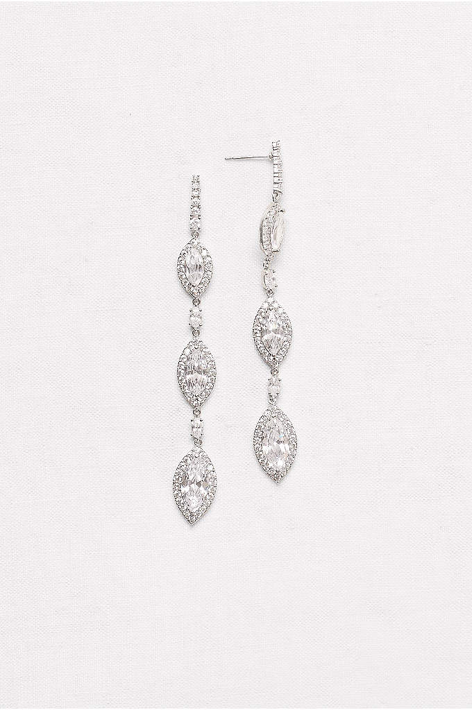 Marquise-Cut Cubic Zirconia Drop Earrings - Sparkling marquise-cut cubic zirconia earrings make a sleek