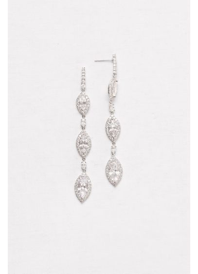Marquise-Cut Cubic Zirconia Drop Earrings - Wedding Accessories