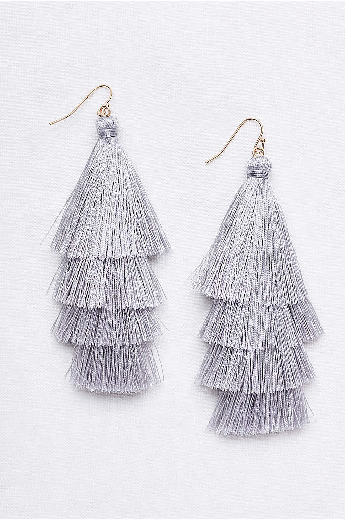 Tiered Thread Tassel Earrings - Swingy and statement-making, these lightweight thread-tassel earrings add