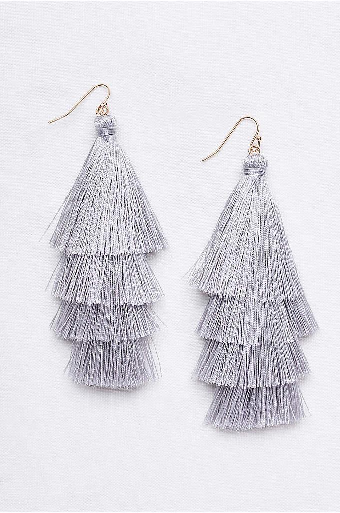 Tiered Thread Tassel Earrings - Swingy and statement-making, these lightweight thread-tassel earrings add