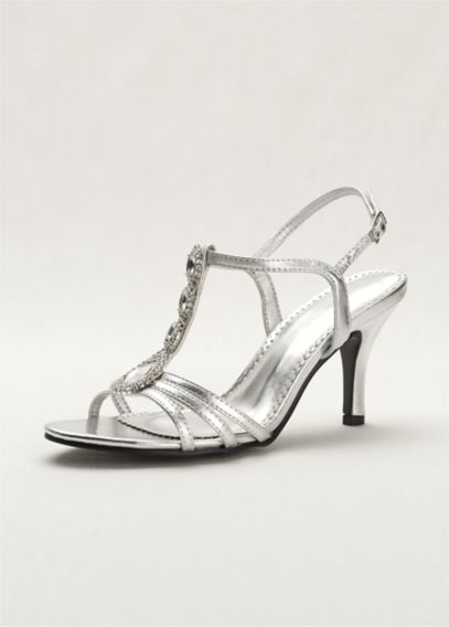 T-Strap High Heel Sandal with Jewel Detail | David's Bridal