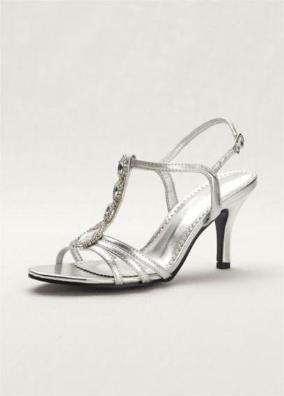 T Strap High Heel Sandal With Jewel Detail Davids Bridal