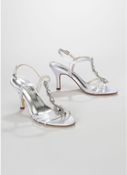 White (Dyeable T-Strap High Heel Sandal with Jewel Detail)