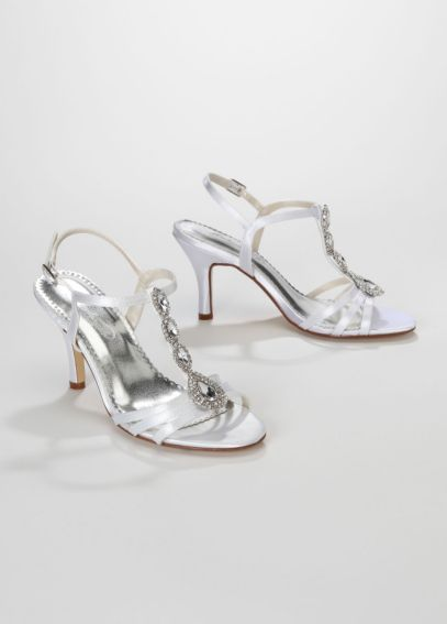Dyeable T-Strap High Heel Sandal with Jewel Detail MEGDYEABLE