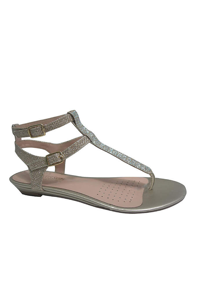 Double-Buckle T-Strap Sandals with Crystals - These strappy, crystal-embellished sandals pair perfectly with everything