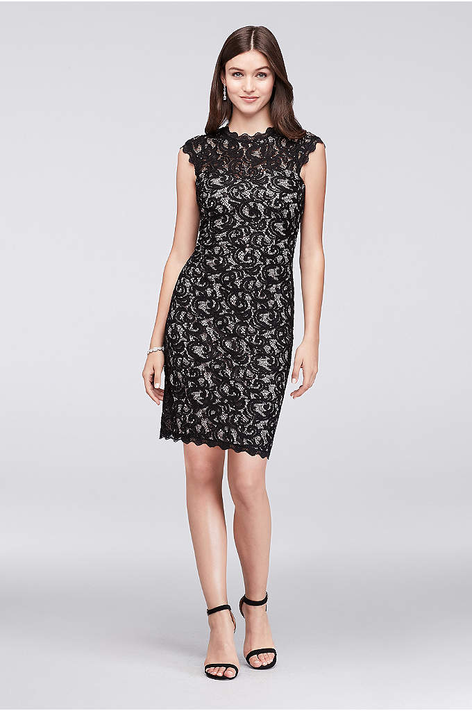 High-Neck Cap Sleeve Lace Dress - Sequins sparkle festively on this cap sleeve, high-neck