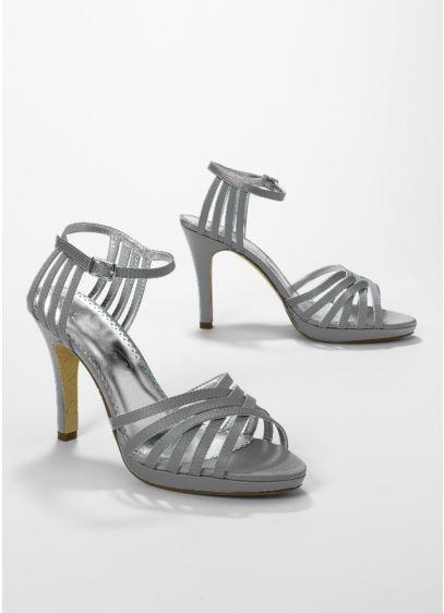 Blue (Satin High Heel Lattice Weave Strappy Sandal)