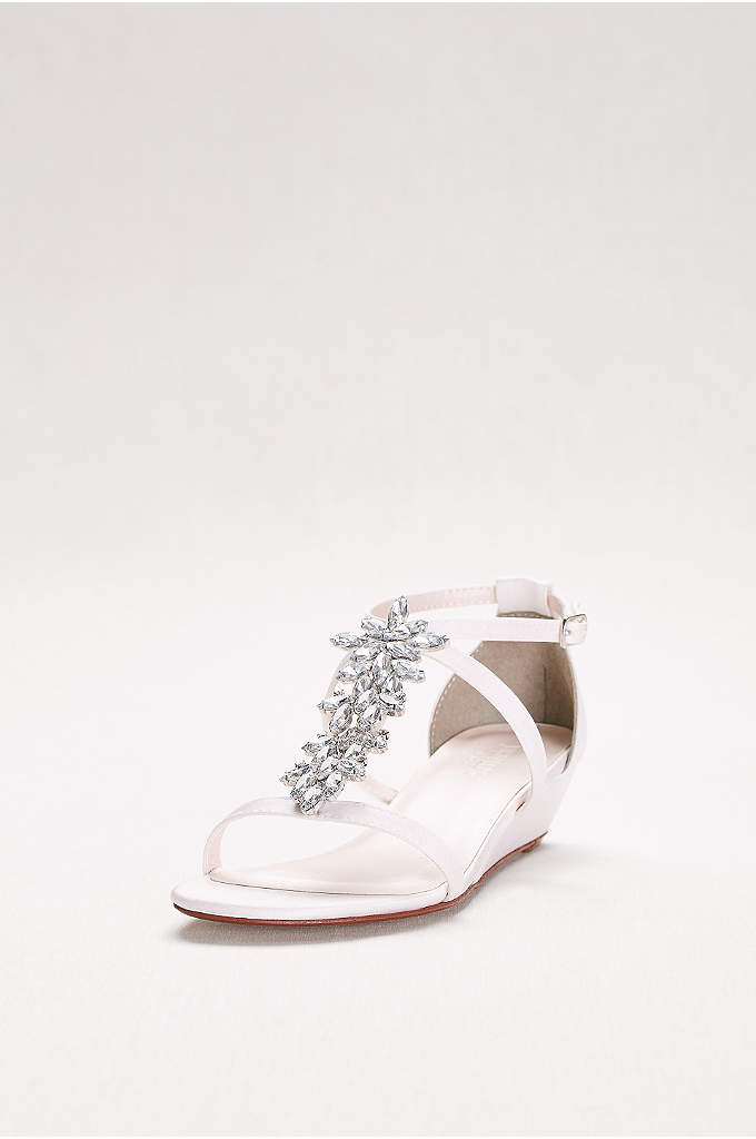 Starburst Crystal Satin Mini Wedge Sandals - Eye-catching crystals turn nearly flat satin sandals into