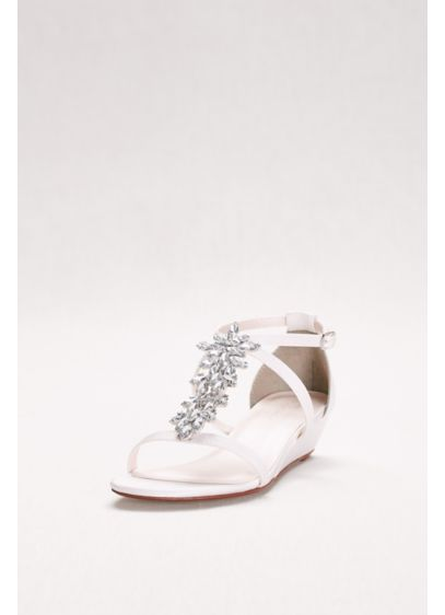 David's Bridal White (Starburst Crystal Satin Mini Wedge Sandals)
