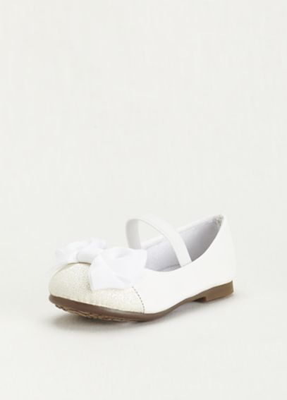 Flower Girl Glitter Toe Flat with Front Bow MIRONAT