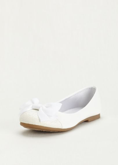 Flower Girl Glitter Toe Flat with Front Bow MIRONAY