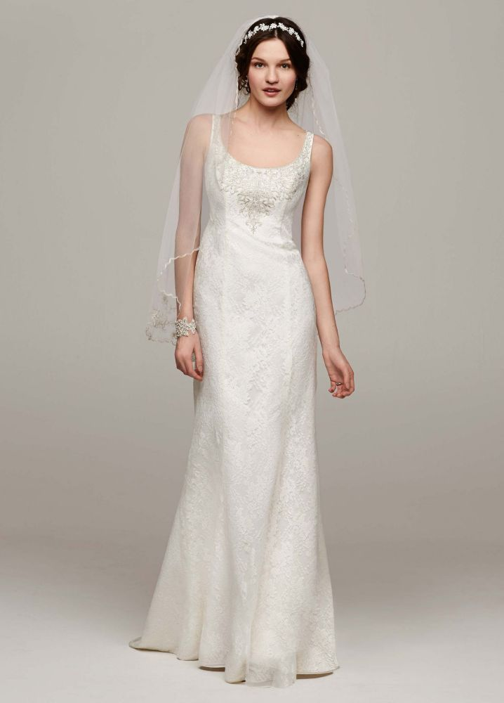 David 39 s bridal all over lace tank wedding dress with for Lace wedding dress davids bridal