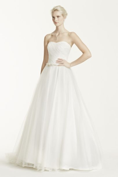 Strapless Ruched Bodice Tulle Wedding Dress | David's Bridal