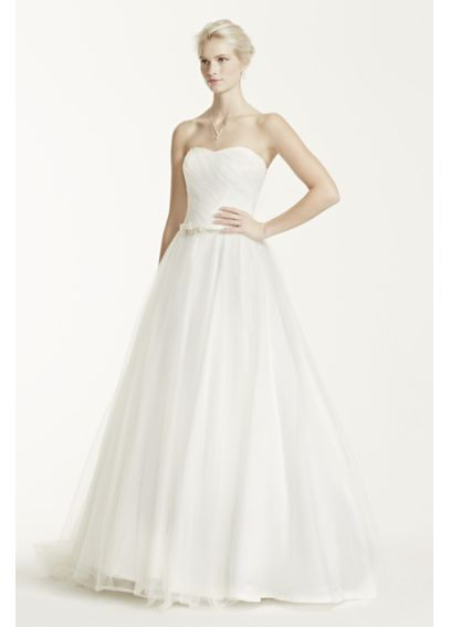 Strapless Ruched Bodice Tulle Wedding Dress MK3576