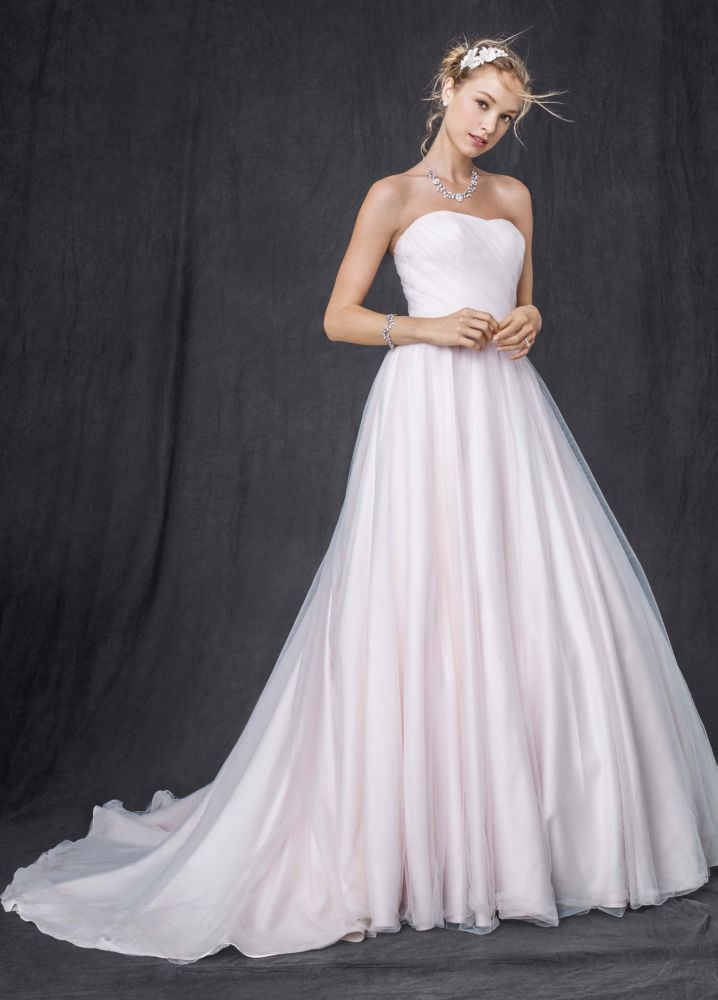 David 39 s bridal strapless ruched bodice tulle ball gown for David s bridal strapless wedding dress