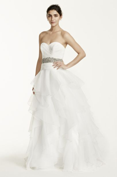 Strapless Organza Wedding Dress with Ruffles | David's Bridal