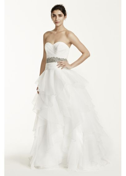 Strapless Organza Ball Gown with Ruffled Skirt MK3667
