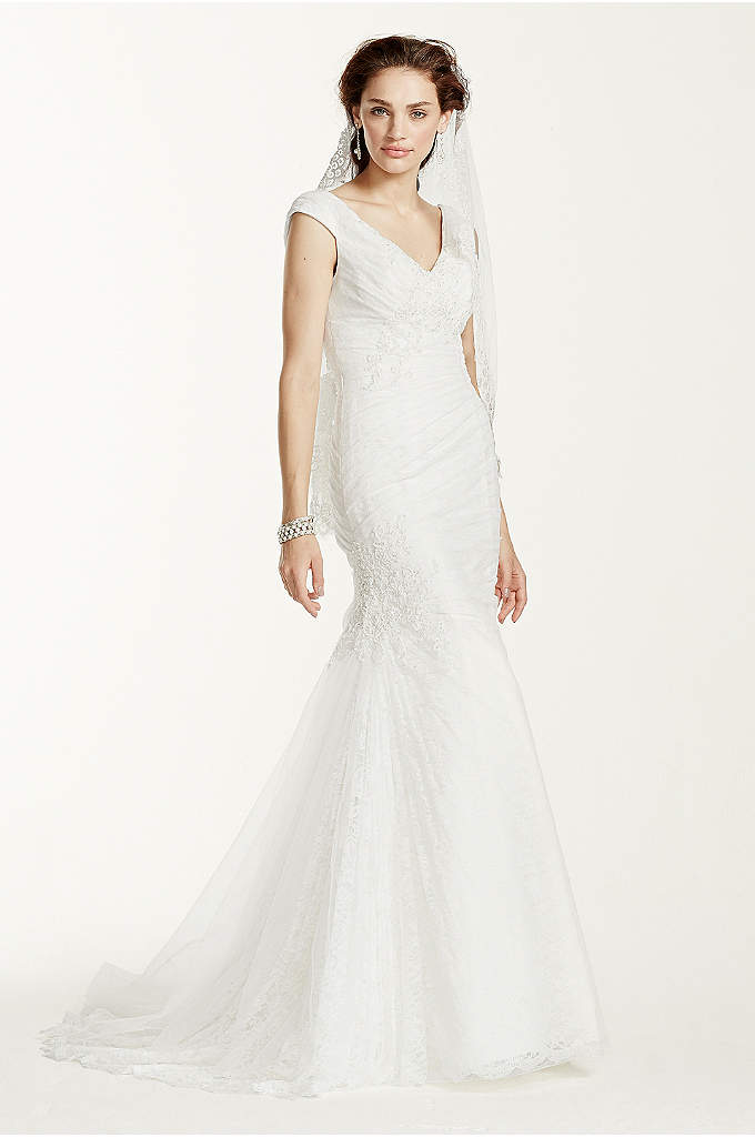 Jewel Off The Shoulder Ruched Wedding Dress - Exquisitely designed, this beautiful trumpet gown is sure