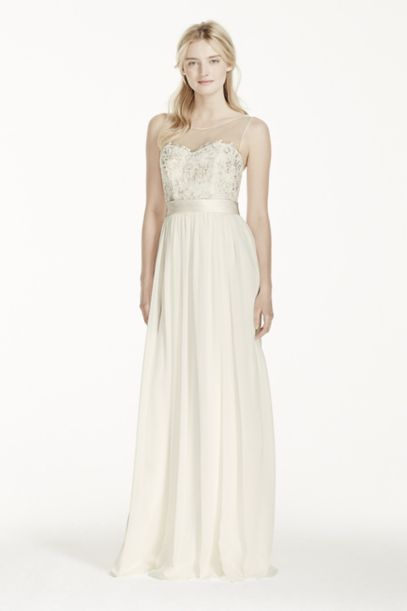Illusion Tank Chiffon Wedding Dress with Lace | David's Bridal