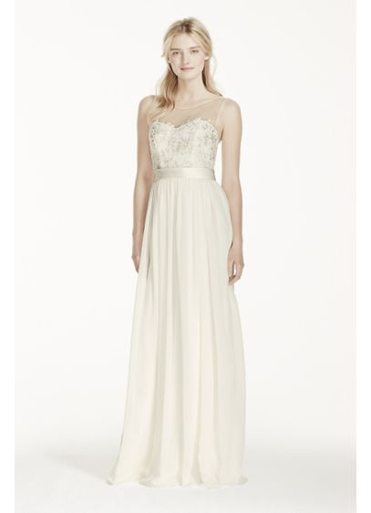 Illusion tank chiffon wedding dress with lace davids bridal for Davids bridal beach wedding dresses