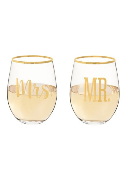 Mr and Mrs Gold Rim Stemless Glasses with Gift Box - Wedding Gifts & Decorations