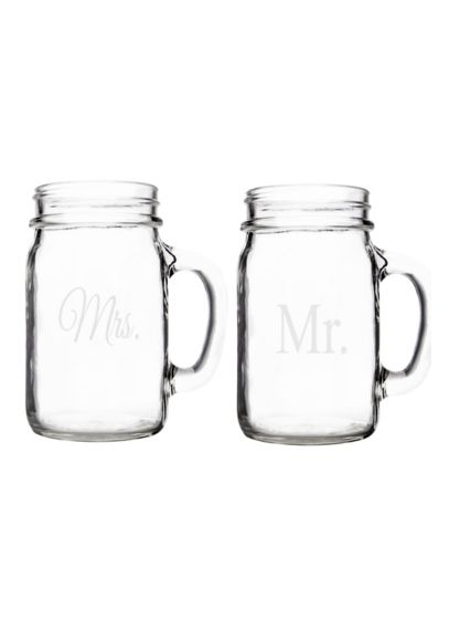 Mr.and Mrs. Old Fashioned Drinking Jars Set of 2 - Wedding Gifts & Decorations