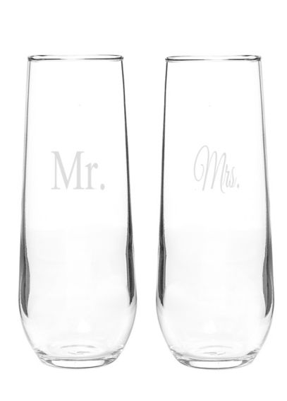 Mr. and Mrs. Stemless Champagne Toasting Flutes MM1228-2