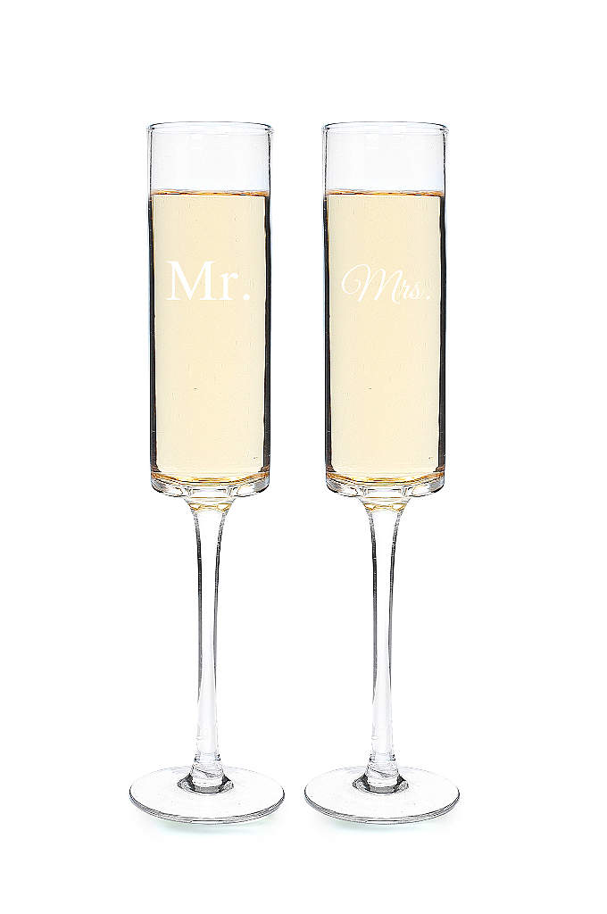 Mr. and Mrs. Contemporary Champagne Flutes - Refined by an element of timeless appeal, the