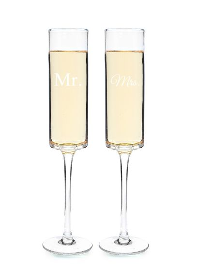 Mr. and Mrs. Contemporary Champagne Flutes - Wedding Gifts & Decorations