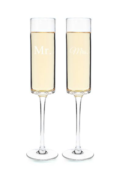 Mr. and Mrs. Contemporary Champagne Flutes MM3668