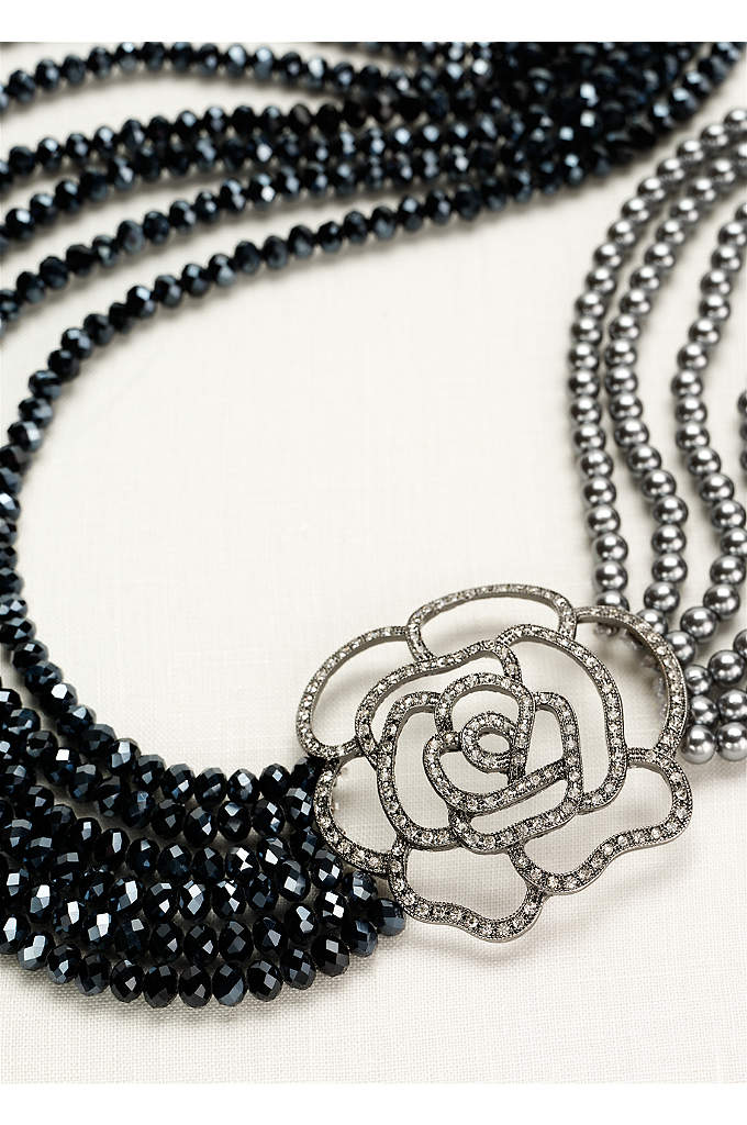 Pearl and Bead Necklace with Crystal Rose