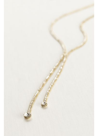 Gold Pave Y Necklace - Wedding Accessories