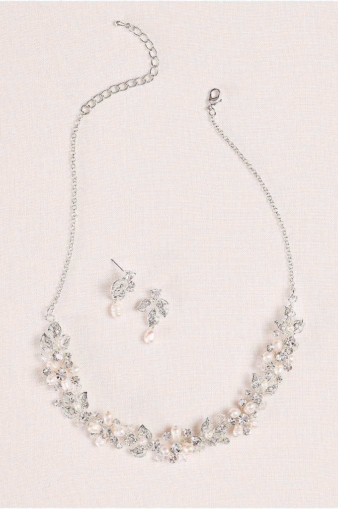 Cultured Pearl and Leaf Necklace and Earring Set - Hand wired cultured pearls embellish this leaf motif