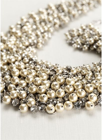 Dramatic Pearl Crystal Bauble Necklace - Wedding Accessories
