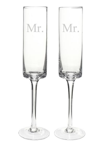 Mr. and Mr. Contemporary Champagne Flutes - Wedding Gifts & Decorations