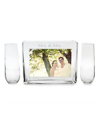 Mrs. and Mrs. Sand Ceremony Photo Vase Unity Set - Wedding Gifts & Decorations