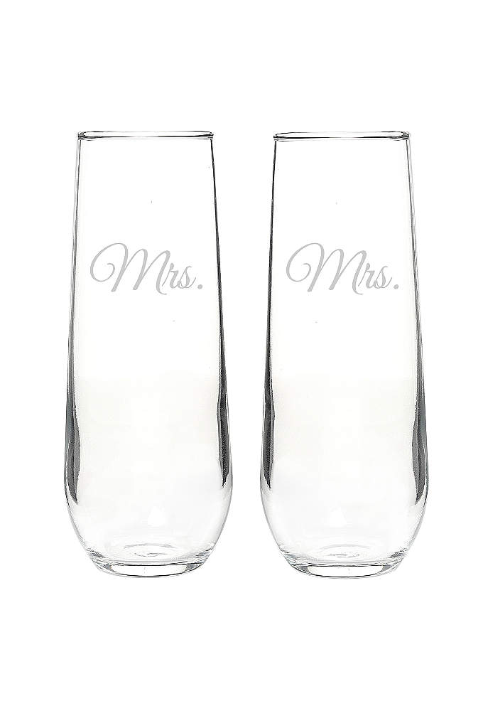Mrs. and Mrs. Stemless Champagne Toasting Flutes - Crafted of crystal clear glass and designed with