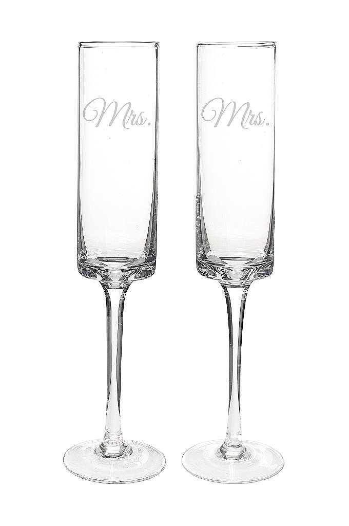 Mrs. and Mrs. Contemporary Champagne Flutes - Sleekly styled and ideal for glass raising, the