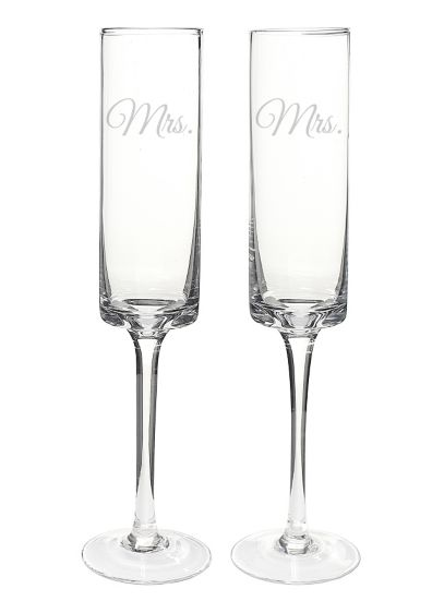 Mrs. and Mrs. Contemporary Champagne Flutes - Wedding Gifts & Decorations