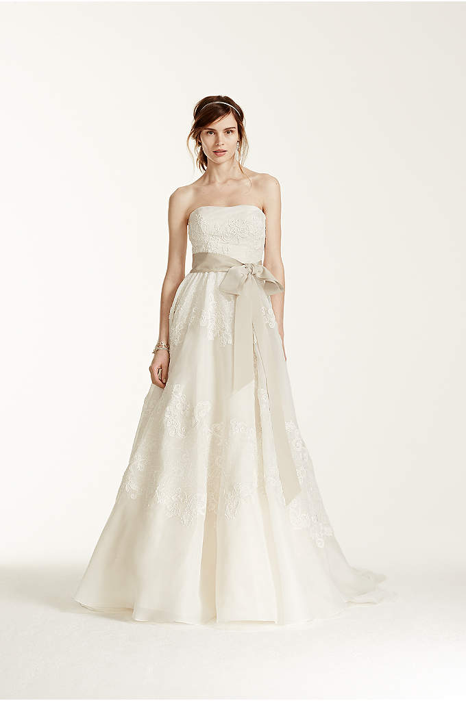 Melissa Sweet Satin Organza and Lace Wedding Dress - Strapless satin organza ball gown features antique-inspired lace.
